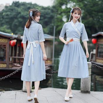 新款女装棉麻复古V领刺绣有腰带汉服连衣裙