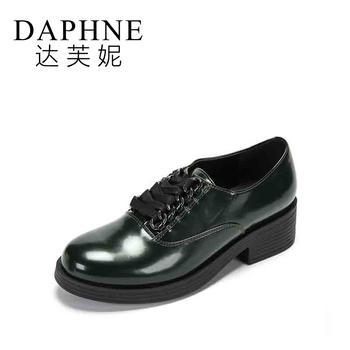 Daphne/达芙妮复古通勤街头系带休闲皮鞋女1017404046