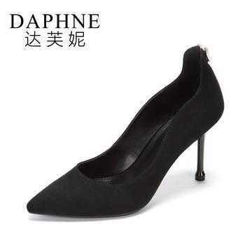 Daphne/达芙妮尖头细跟通勤百搭超高跟鞋女1017404083