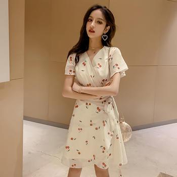 新款修身樱桃裙子短袖雪纺印花连衣裙女