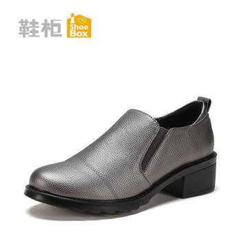 达芙妮旗下新深口粗跟圆头一脚蹬中跟女鞋1117404266