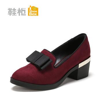 旗下鞋柜时尚粗跟单鞋蝴蝶结高跟女鞋1717404071