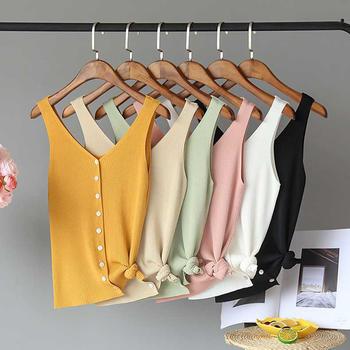 兰菲糖果色冰丝针织修身显瘦百搭排扣设计V领背心