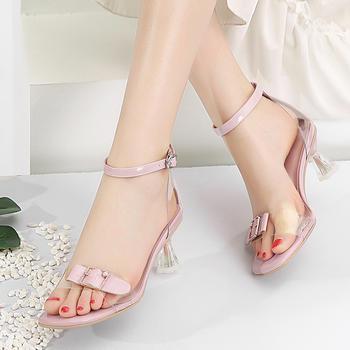 慕沫女鞋夏季新款露趾细跟鞋一字扣带仙女风果冻鞋女