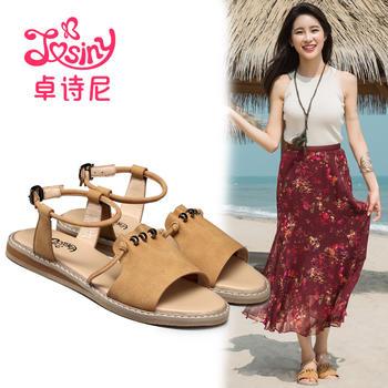 卓诗尼新款凉鞋 时尚平跟一字扣带露趾女鞋子194721092