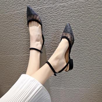 佑黛女鞋夏季新款包头凉鞋镂空小香风平底单鞋尖头鞋