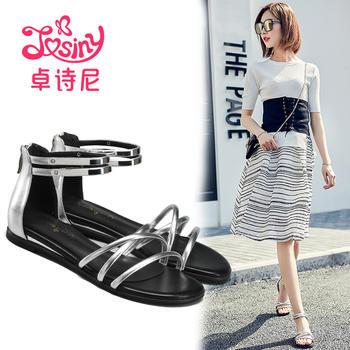 卓诗尼凉鞋新款低跟平跟细带拉链纯色露趾女鞋124714722