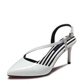 卓诗尼新款高跟细跟包头女凉鞋尖头扣带女鞋123751312