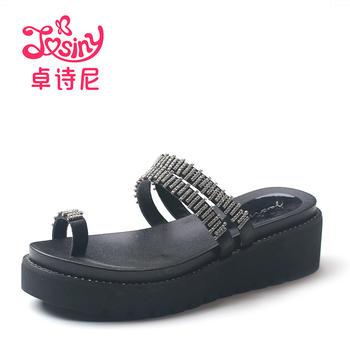 卓诗尼凉鞋女夏中跟平跟套脚水钻欧美风女凉拖115711712