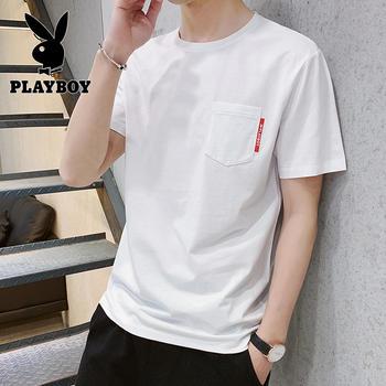 花花公子男士短袖純棉t恤男2019夏季新款白色打底體恤
