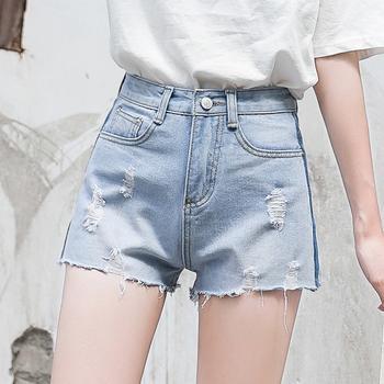 韩版新款牛仔短裤子W103女显瘦百搭潮高腰阔腿宽