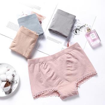 四条装猫人女士内裤女无痕无缝棉性感棉质臀蜂巢暖宫