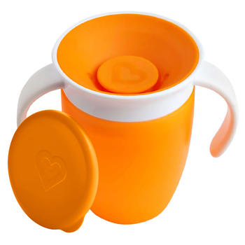 munchkin满趣健360度防漏学饮杯带盖水杯橙色