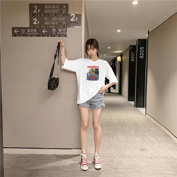 美丽后纯棉卡通印花圆领短袖T恤女
