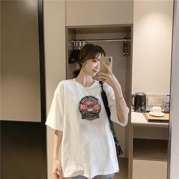 美丽后纯棉卡通印花圆领短袖T恤女宽松