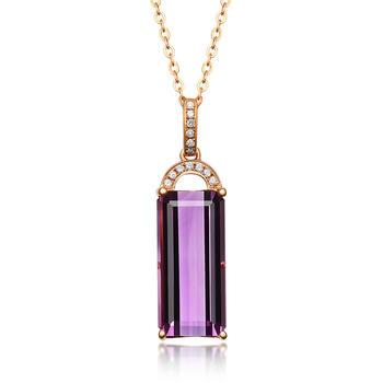 今上珠宝18K金钻石吊坠女紫水晶项链长方形锁骨链吊坠