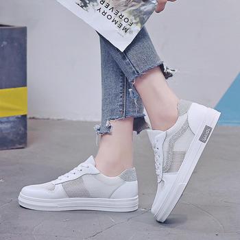 艾微妮新款夏季透气网面女鞋休闲舒适小白鞋