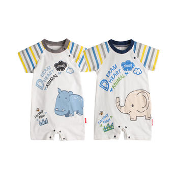 Augelute夏季宝宝可爱动物印花连体衣短袖平角哈衣