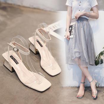 安欣娅夏季新款热销粗跟透明绊带气质凉鞋