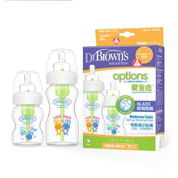 布朗博士爱宝选宽口径玻璃奶瓶150ml+270ml两只装WB0230-CH
