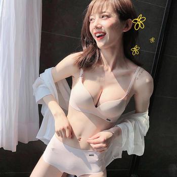 茜樱思 无痕无钢圈聚拢文胸套装一片式小胸日系简约