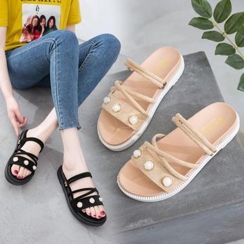 艾微妮新款夏季平底休闲舒适百搭度假凉鞋