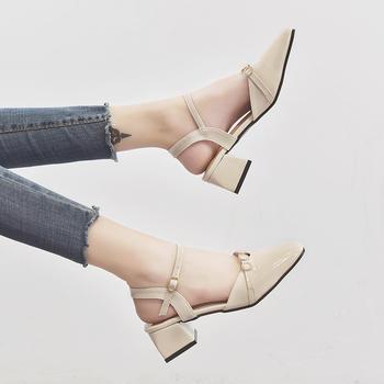 佑黛女鞋夏季新款学生中空包头凉鞋一字扣带罗马鞋仙