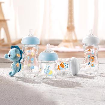飞利浦新安怡宽口径蓝色海马小象自然玻璃奶瓶