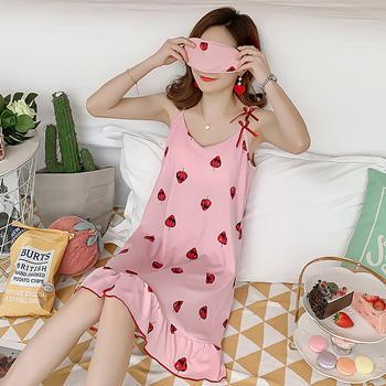 凯丝柔牛奶丝睡衣甜美草莓家居裙(内含胸垫送眼罩)