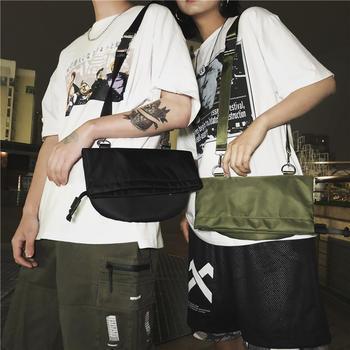 萨兰丹迪嘻哈潮牌卷口单肩包多功能情侣斜挎包腰包