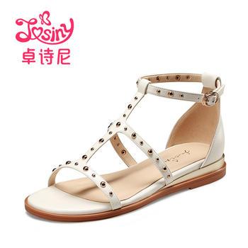卓诗尼夏季休闲平跟一字搭扣平跟凉鞋114711602