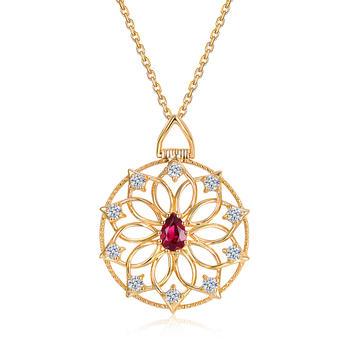 今上珠宝18K金红宝石吊坠克拉钻石项链复古倾城佳人女