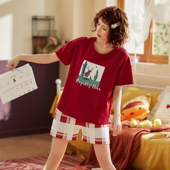 凯丝柔舒适棉质韩版女士家居服短袖短袖薄款睡衣套装