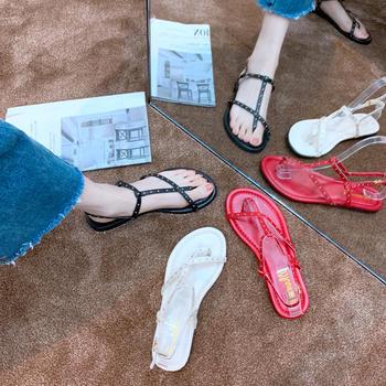 安欣娅夏季新品金典款金属夹趾平底凉鞋