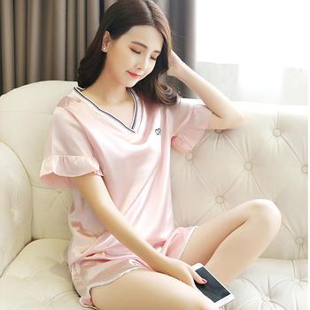 纪妍薇 冰丝女睡衣套装舒适家居服两件套短袖V领薄款