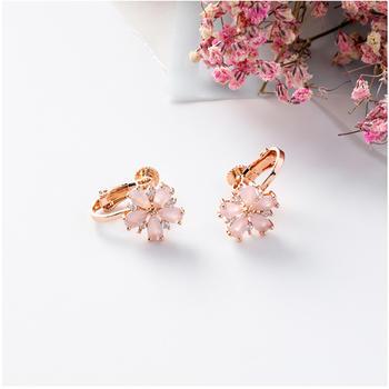 粉色锆石花朵无耳洞耳夹 浪漫花朵粉粉惹人爱