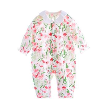 宝然婴儿衣服夏装纯棉薄款长袖开衫爬爬服花瓣领女宝