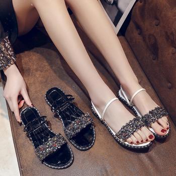 安欣娅夏季时尚水钻舒适平底两穿凉鞋