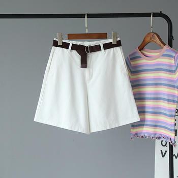 气质通勤高腰显瘦直筒短裤女 有腰带