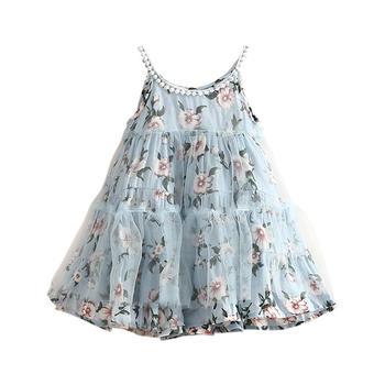 贝壳元素夏季女童碎花连衣裙无袖吊带裙子qz4668