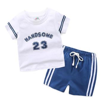 貝殼元素夏季男童字母套裝短袖T恤短褲tz4370
