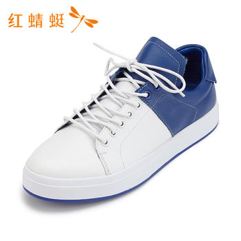红蜻蜓正品新款女鞋系带撞色圆头休闲款女单鞋B80588