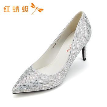 红蜻蜓女鞋时尚简约舒适水钻装饰尖头女单鞋