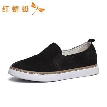 红蜻蜓女鞋头层牛皮春款平跟女士浅口单鞋B86028