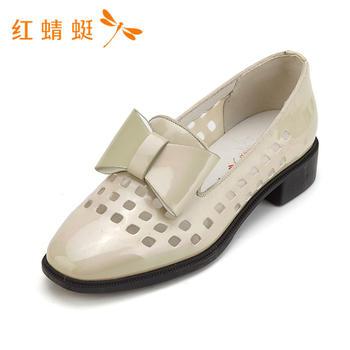 红蜻蜓正品新款女鞋蝴蝶结镂空粗跟女单鞋B87270