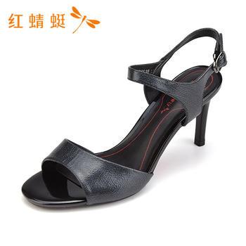 红蜻蜓新款优雅高跟鞋细跟露趾一字带女K83712