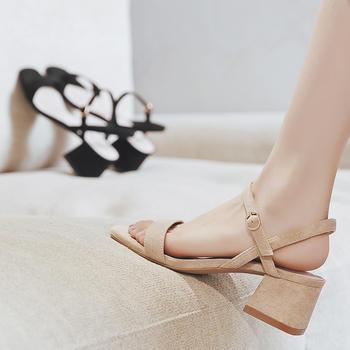 ZHR2019新款夏时尚一字带高跟女凉鞋?#25351;鶬NS潮流女鞋子