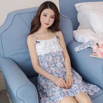 纪妍薇 夏季清新蕾丝花边女睡衣睡裙家居裙薄款棉裙