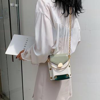雅诗罗韩版时尚撞色潮流铆钉女包百搭斜挎链条小包包