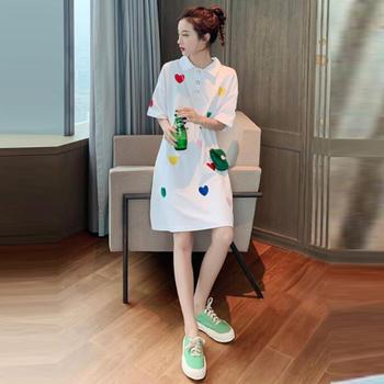 2019韩版新品女装淑女范爱心刺绣POLO领短袖连衣裙